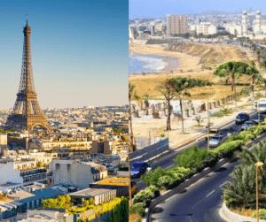 A gauche de la photo, la ville de Paris avec la tour eiffel et à droite de la photo la ville de dakar