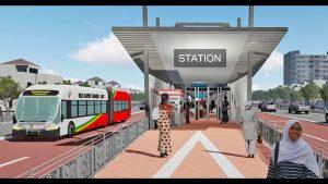 La maquette d'une station de bus rapid transit au Sénégal